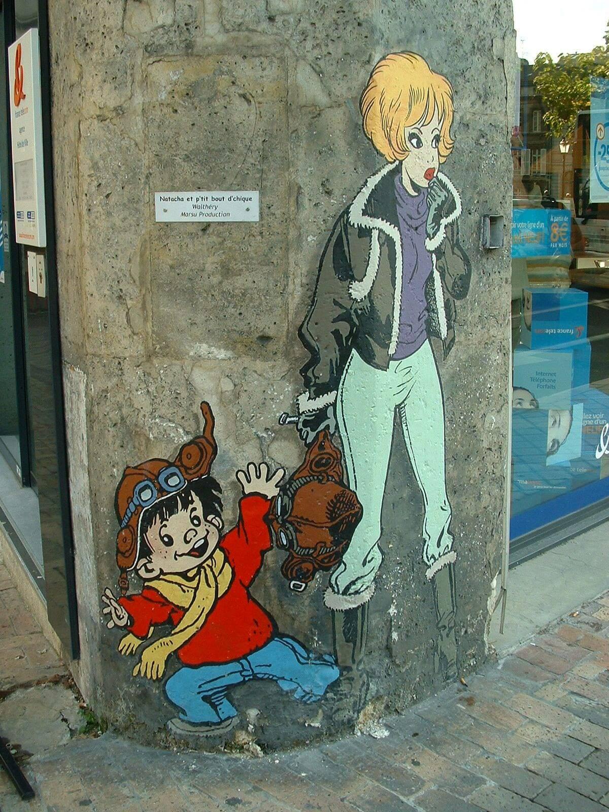 Mur peint - Natacha et p'tit bout d'chique